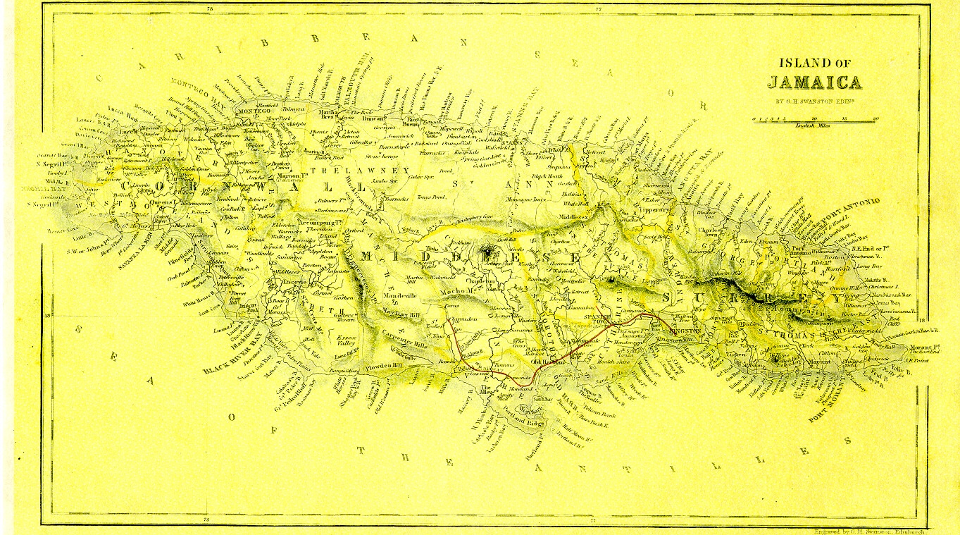 Map Of Jamaica About 1845